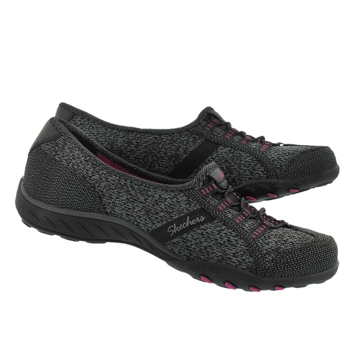 Lds Breathe-Easy blk/pnk slip on sneaker