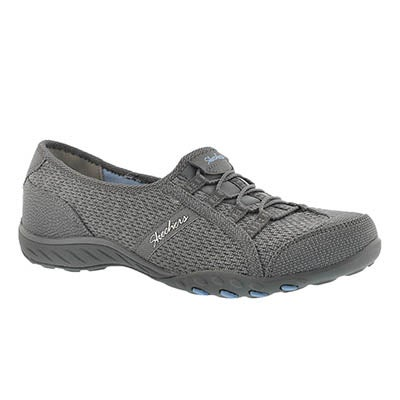 Skechers Women's BREATH-EASY charcoal slip on sneakers