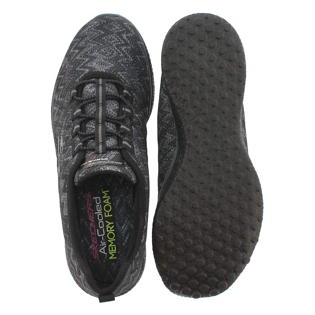 Lds Microburst blk/gry slip on sneaker