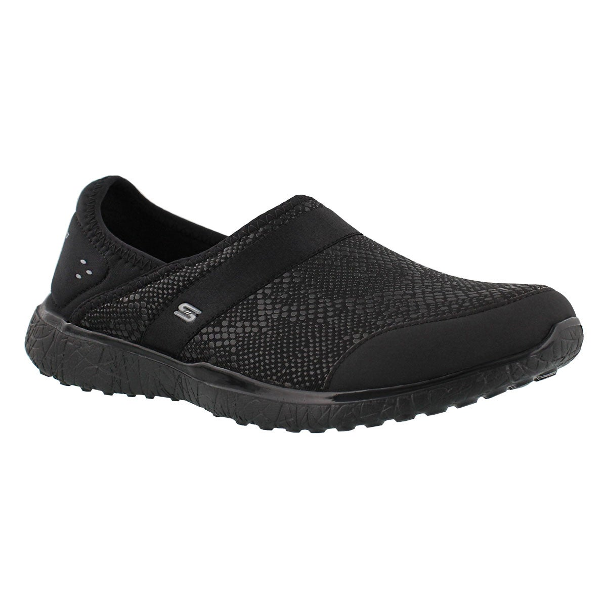 Women's MICROBURST black snake slip on sneakers