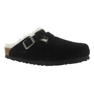 Lds Boston blk sued shearling lined clog