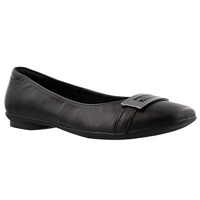 Clarks Women's CANDRA GLARE black dress flats - Wide
