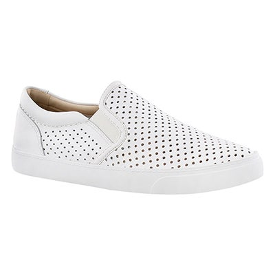Clarks Women's GLOVE PUPPET white leather slip ons