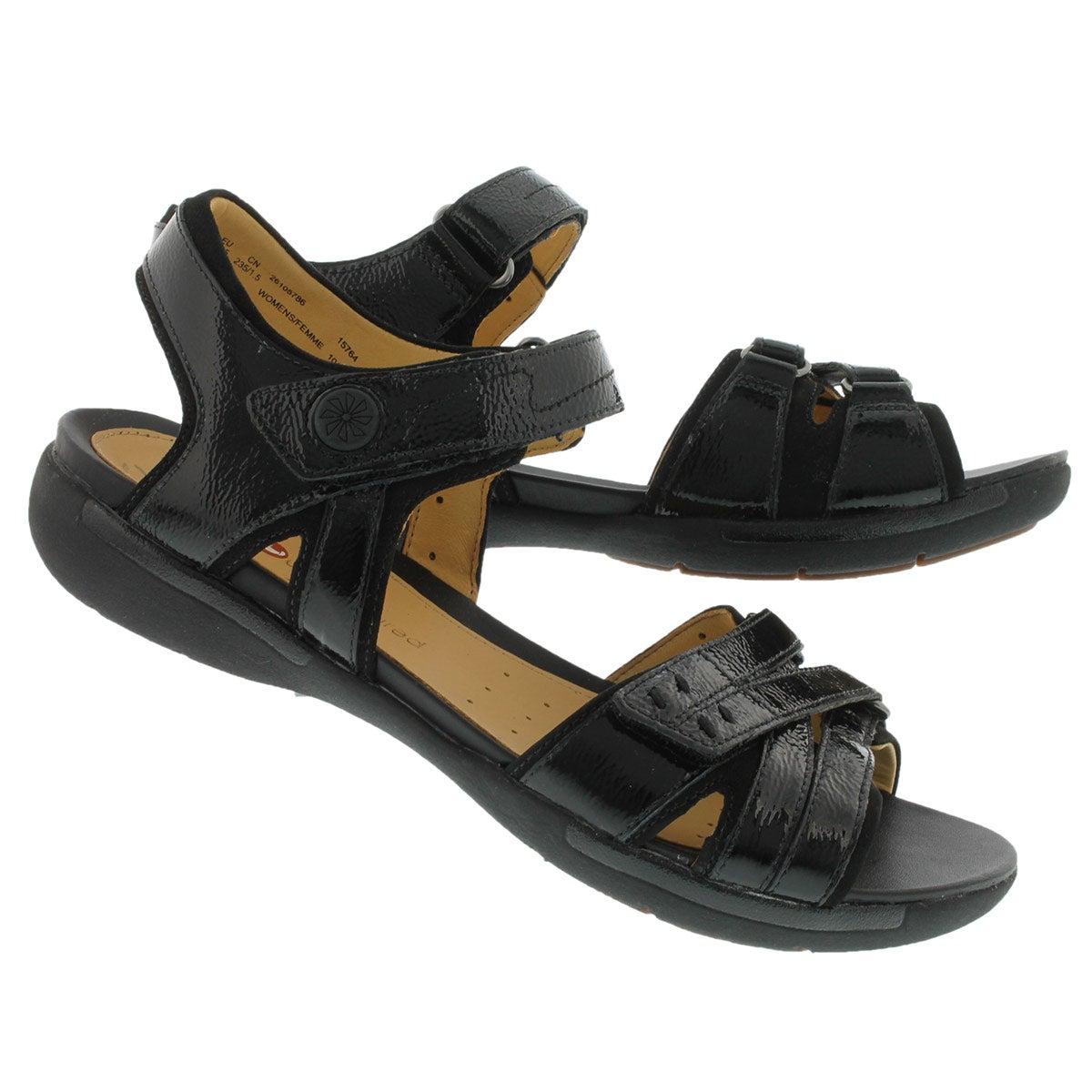 Lds Un.Vasha black patent casual sandal