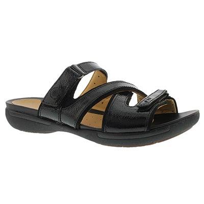 Clarks Women's UN.VERLEE black casual slide sandals
