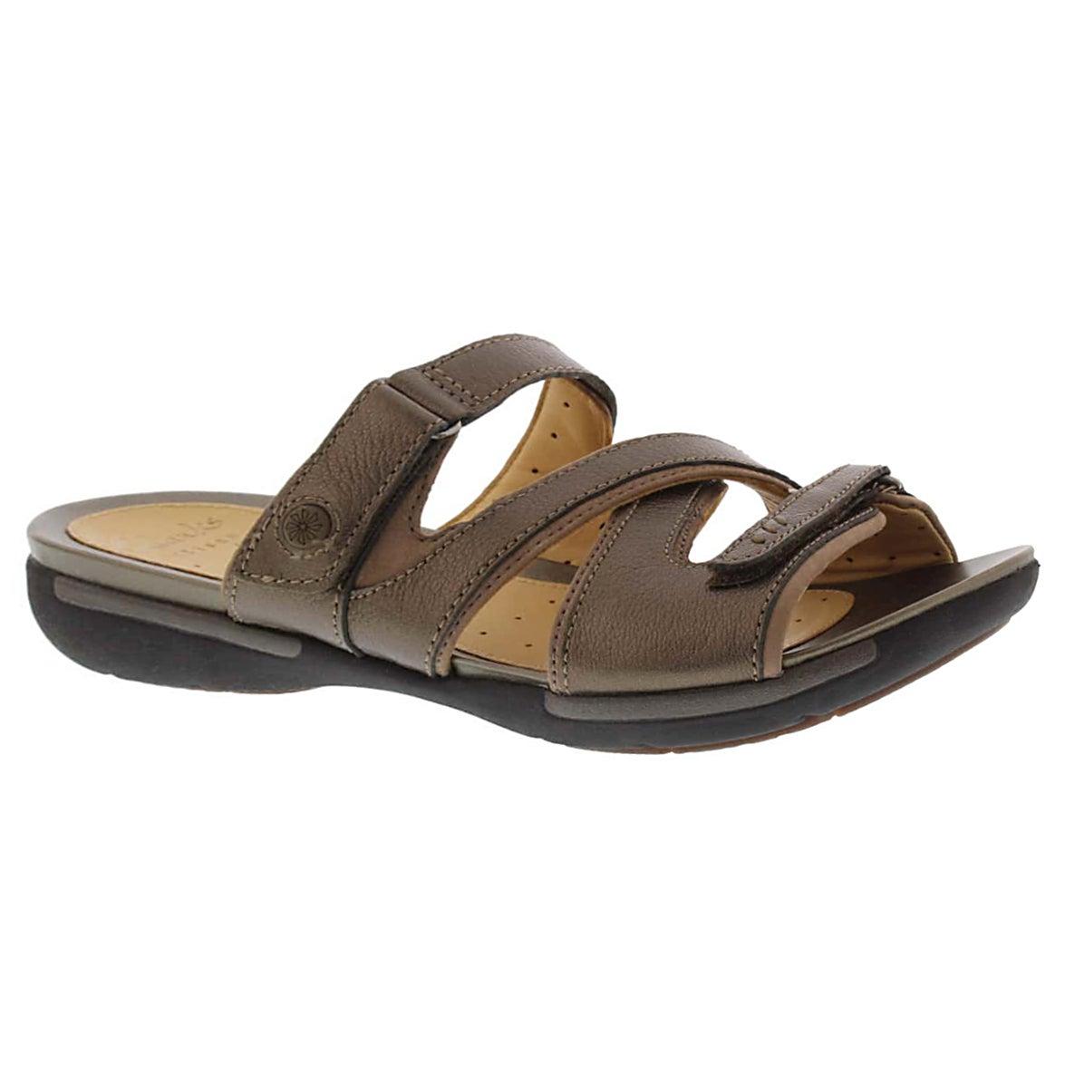 Women's UN.VERLEE bronze casual slide sandals