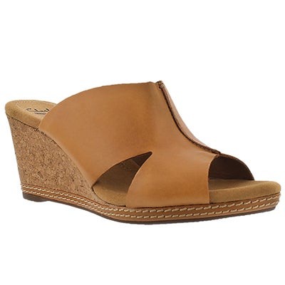 Clarks Women's HELIO ISLAND tan slide wedge sandals
