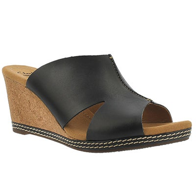 Clarks Women's HELIO ISLAND black slide wedge sandals