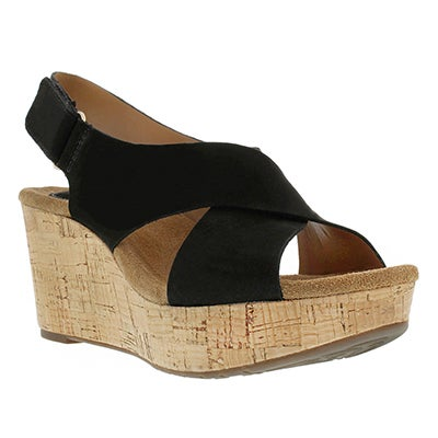 Clarks Women's CASLYNN SHAE black wedge sandals