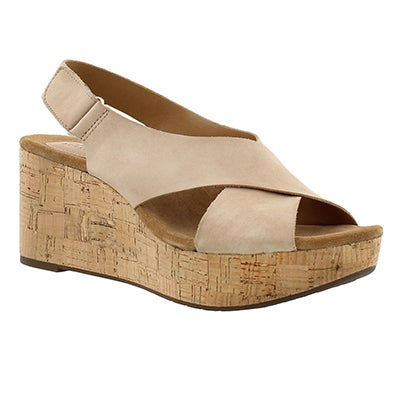 Clarks Women's CASLYNN SHAE light tan wedge sandals