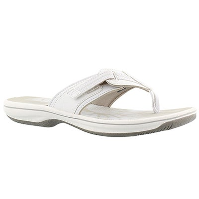 Clarks Women's BRINKLEY JAZZ white thong sandals