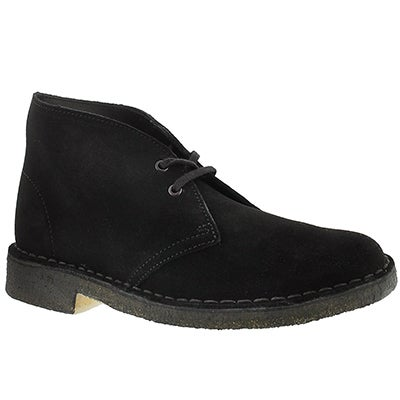 Clarks Women's ORIGINALS DESERT BOOT black suede chukkas