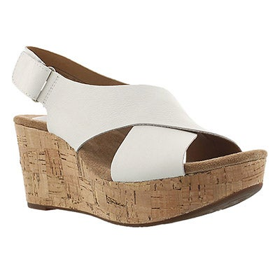 Clarks Women's CASLYNN SHAE light white wedge sandals
