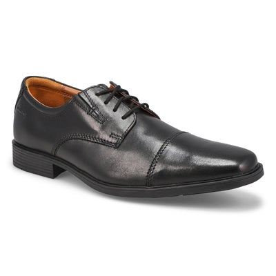 Clarks Men's TILDEN CAP black dress oxfords