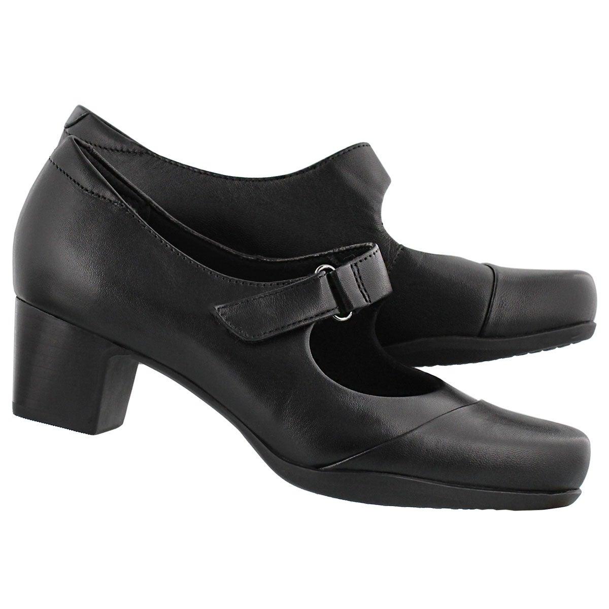 Lds Rosalyn Wren blk maryjane heel-WIDE