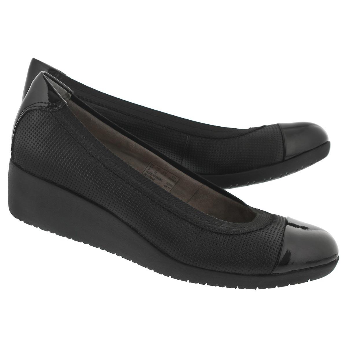 Lds Petula Sadie black slip on wedge