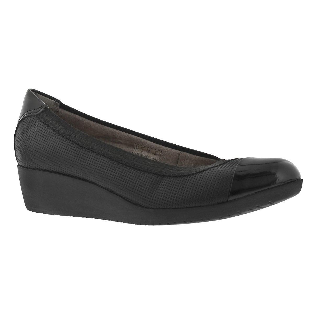 Women's PETULA SADIE black slip on wedges