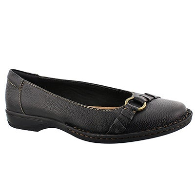 Clarks Women's PEGG ALBA black slip on flats