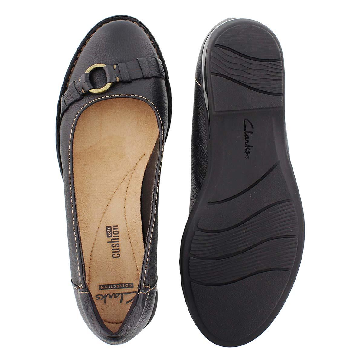 Lds Pegg Alba black slip on flat