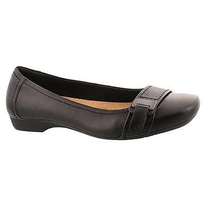 Lds Blanche Dotty black dress slip on