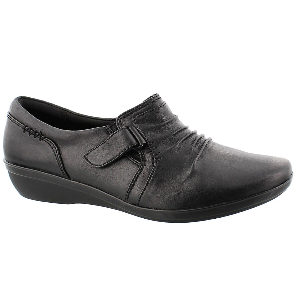 Lds Everlay Coda blk casual slip on-wide