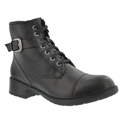 Clarks Women's SWANSEA LEDGE black combat boots