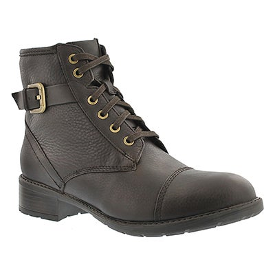 Clarks Women's SWANSEA LEDGE dark brown combat boots
