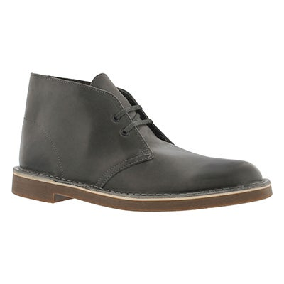Clarks Men's BUSHACRE 2 grey leather desert boot