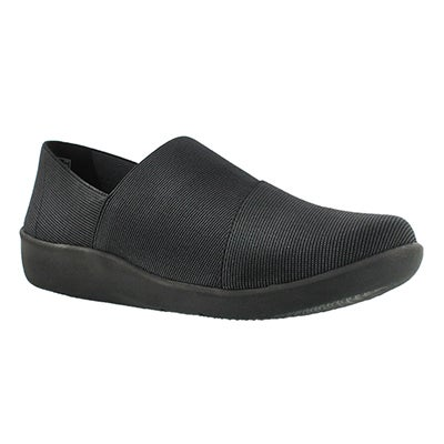 Clarks Women's SILLIAN FIRN black casual slip ons