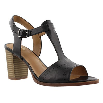 Clarks Women's CIERA GLASS black t-strap dress sandals