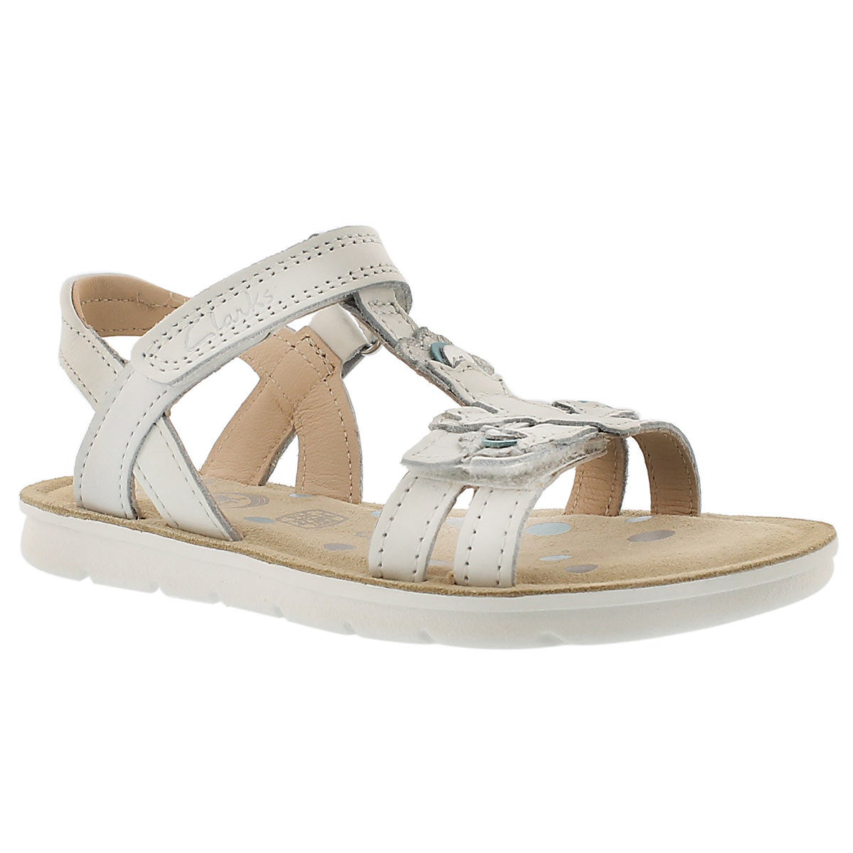 Girls' MIMO GRACIE white t-strap sandals
