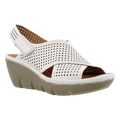 Clarks Women's CLARENE AWARD white wedge sandals