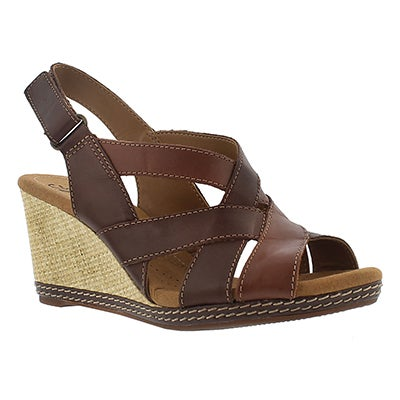 Clarks Women's HELIO CORAL brown multi wedge sandals