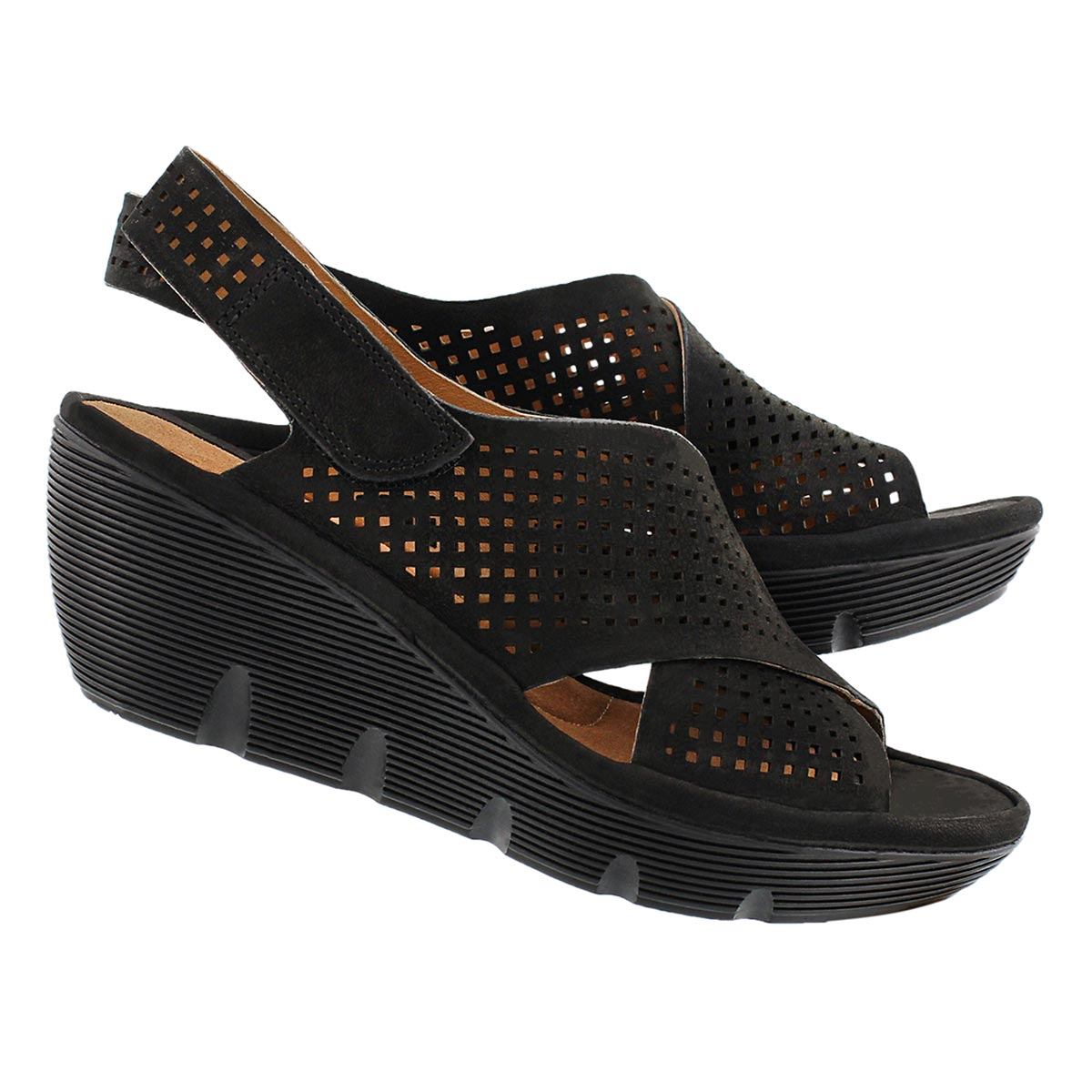 Lds Clarene Award blk wedge sandal
