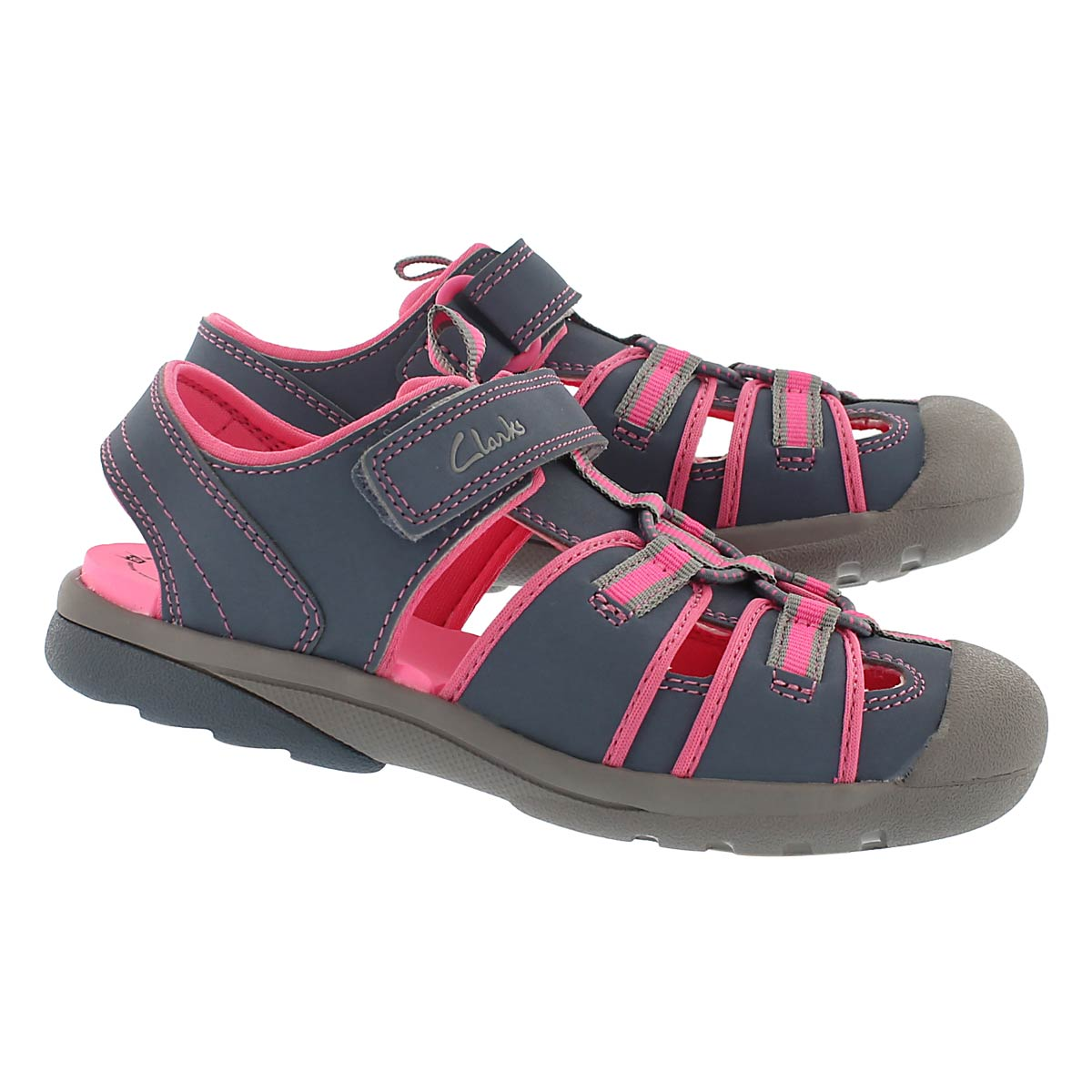 Grls Beach Tide gry/pnk fisherman sandal