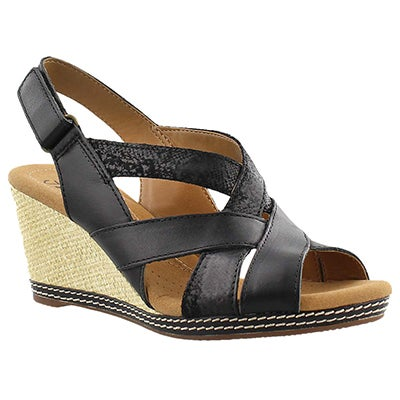 Clarks Women's HELIO CORAL black wedge sandals