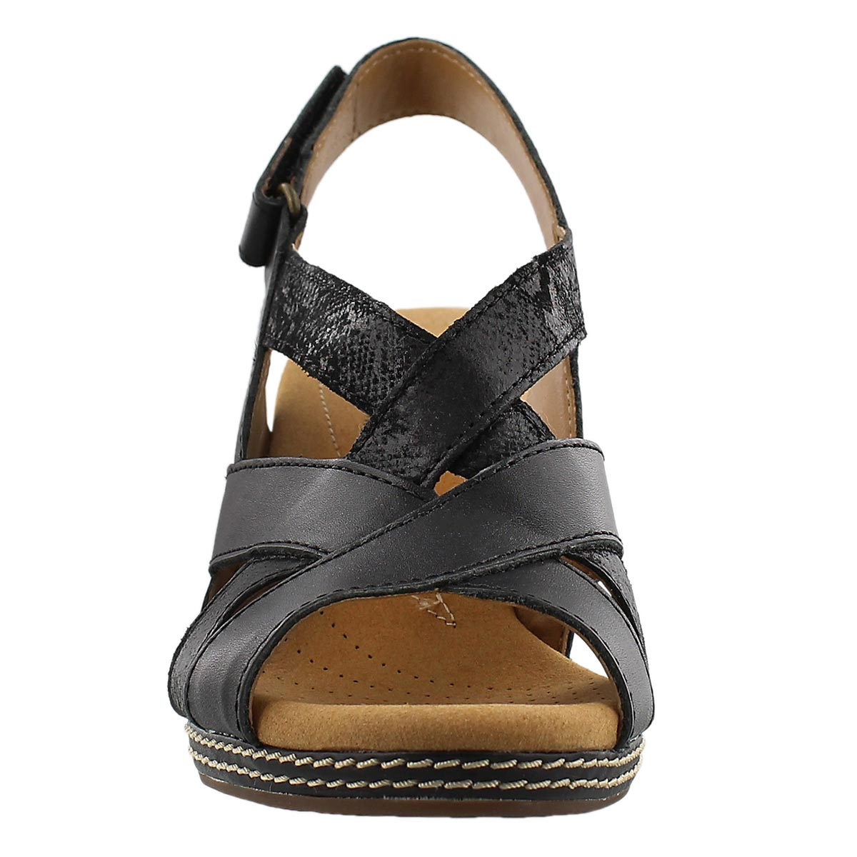 Lds Helio Coral black wedge sandal
