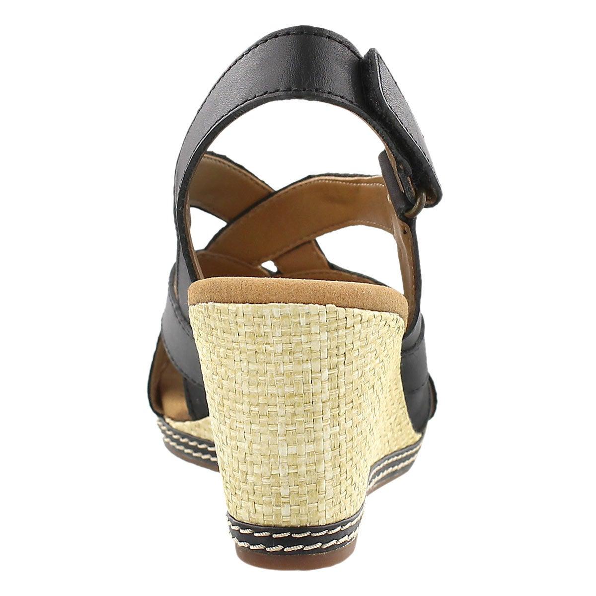 Lds Helio Coral black wedge sandal
