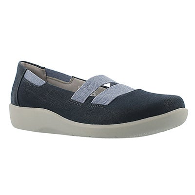 Clarks Women's SILLIAN REST navy slip on casual shoes