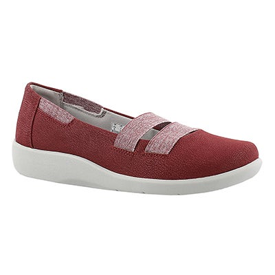 Clarks Women's SILLIAN REST red  slip on casual shoes