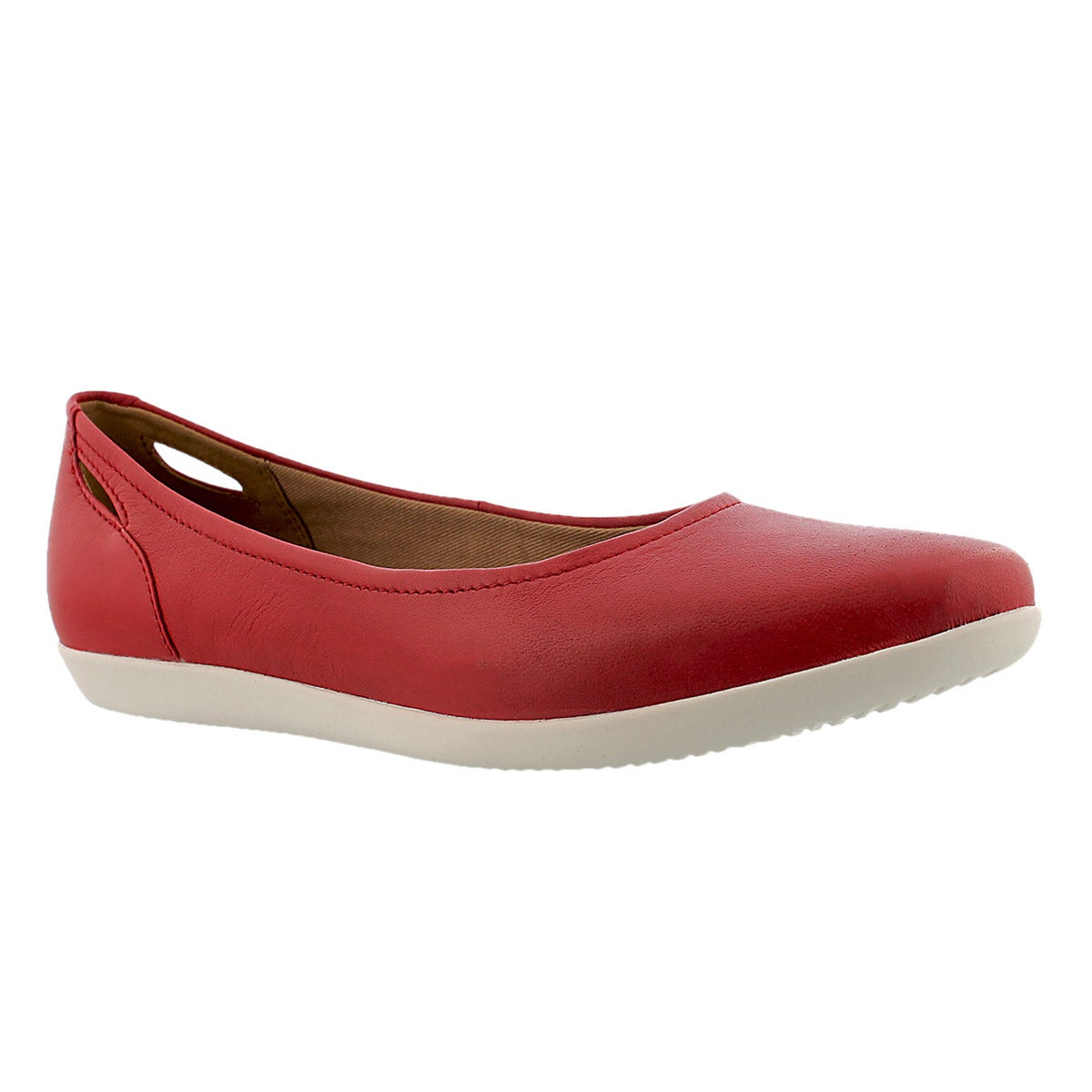 Lds Helina Alessia red leather flat