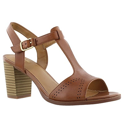 Clarks Women's CIERRA GLASS brown t-strap dress sandals