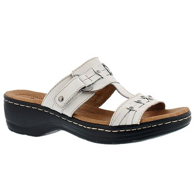 Clarks Women's HAYLA YOUNG white casual slide sandals