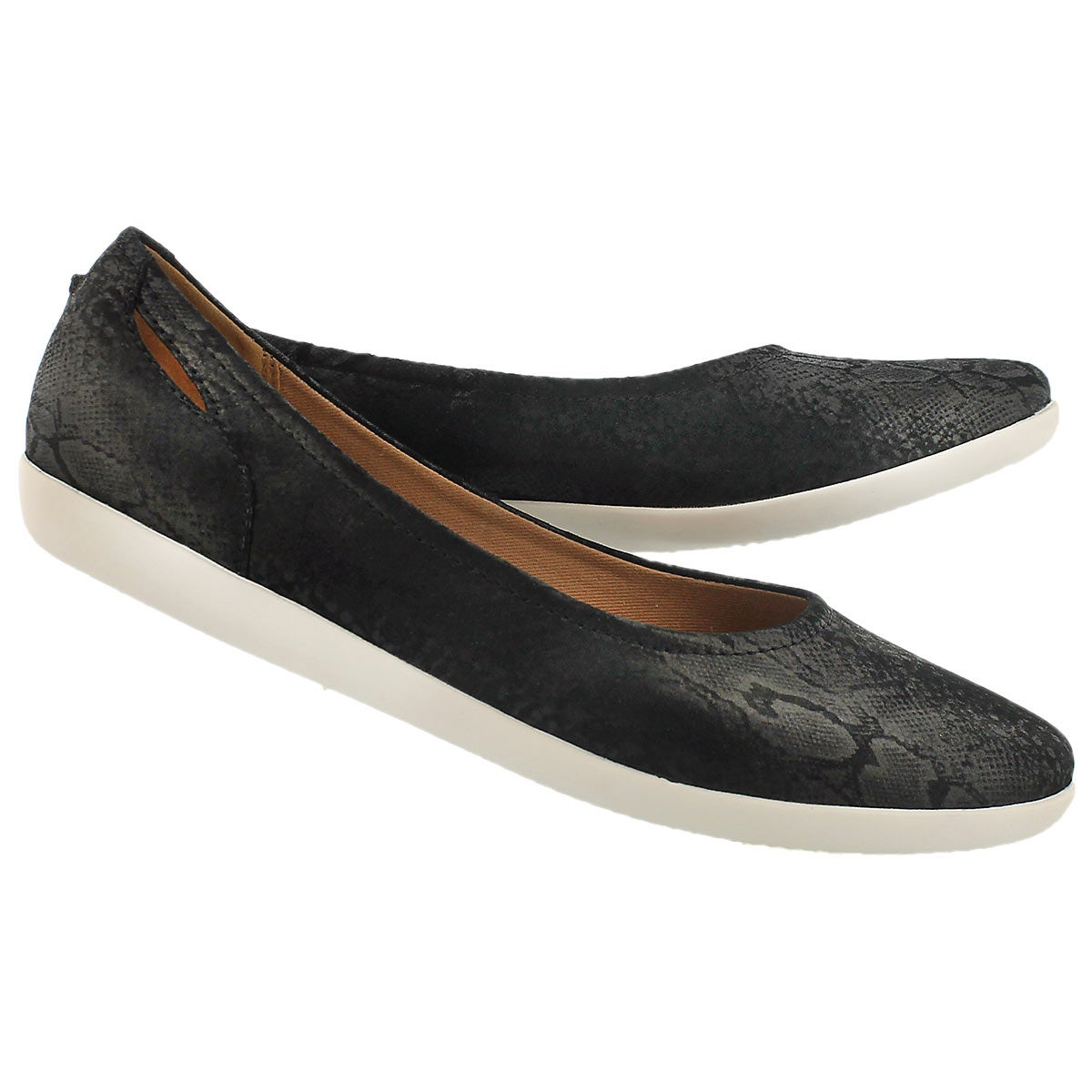Lds Helina Alessia black suede flat