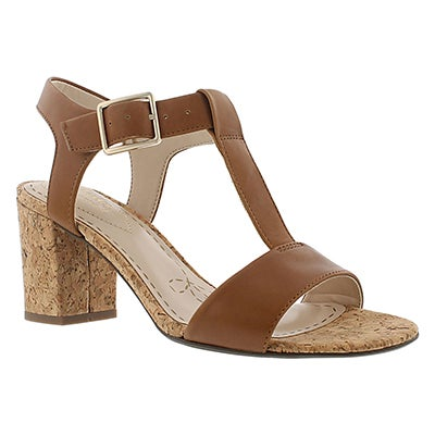 Clarks Women's SMART DEVA tan t-strap dress sandals