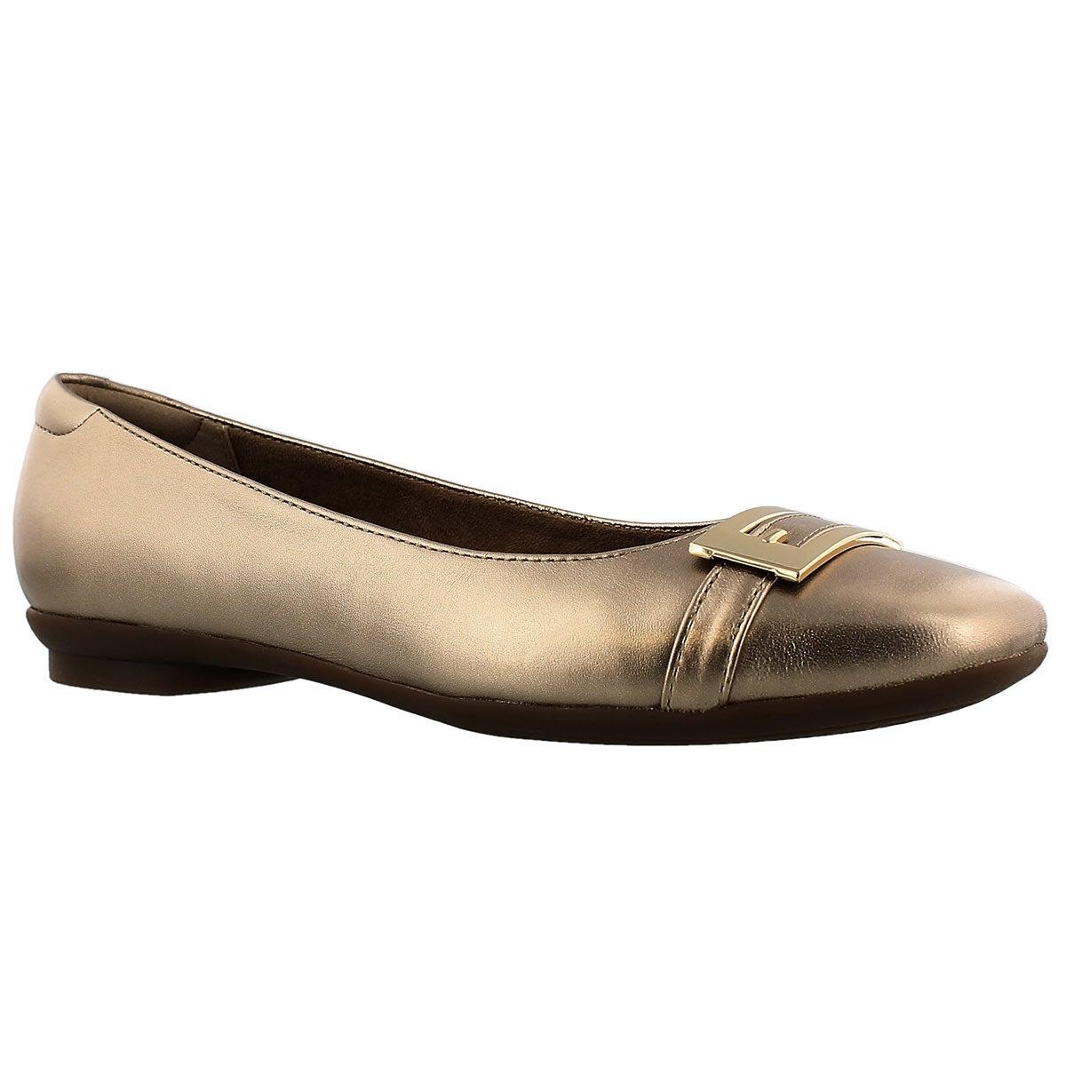 Lds Candra Glare gold dress flat - WIDE