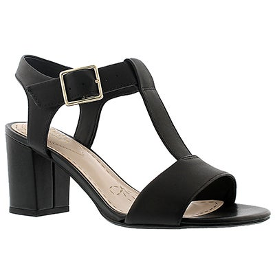 Clarks Women's SMART DEVA black t-strap dress sandals