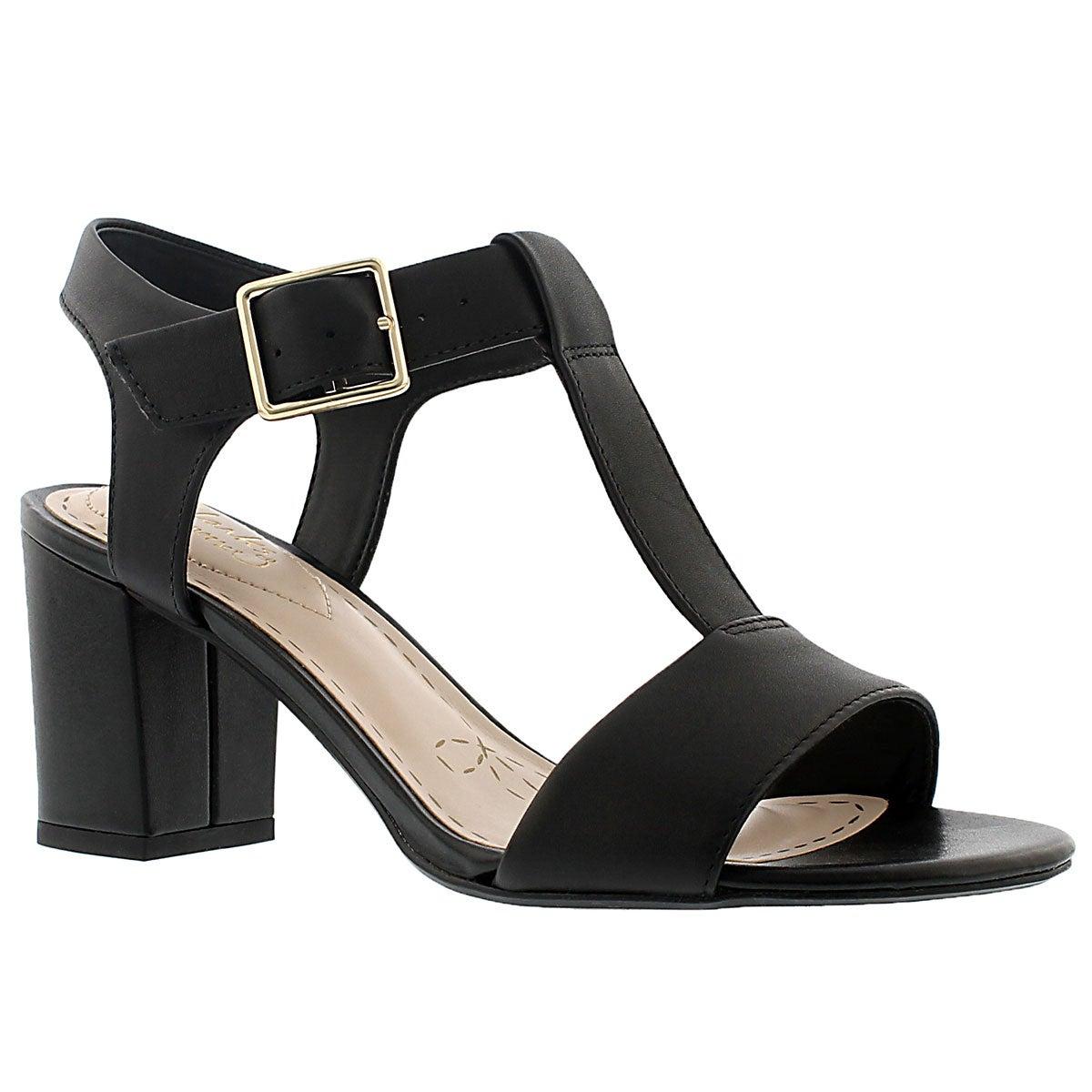 Lds Smart Deva blk t-strap dress sandal