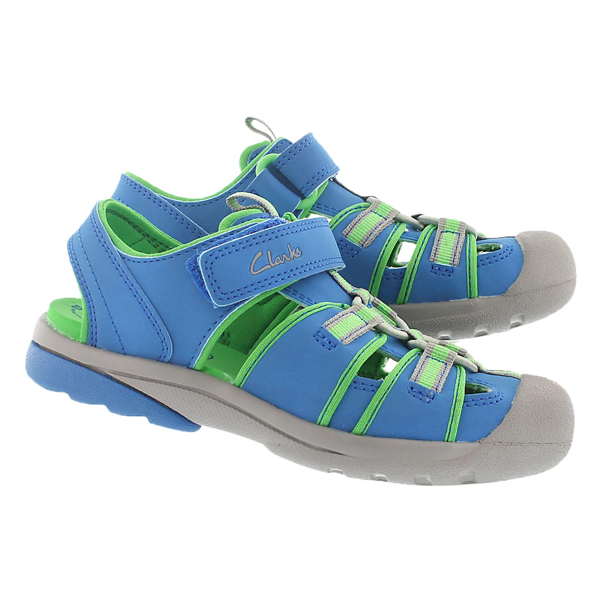 Kds Beach Mate blue/grn fisherman sandal