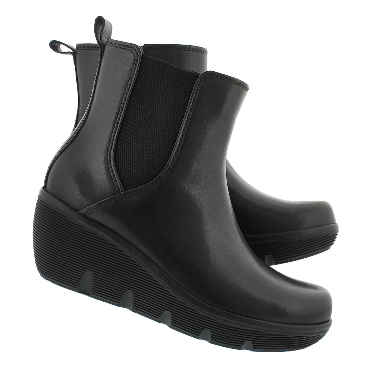 Lds Clarene Surf blk slip on wedge boot